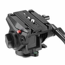 Neewer Heavy Duty Video Kamera Stativ Fluidkopf Schwenkkopf mit 1/4 und 3/8 Zoll Schrauben Schiebeplatte für DSLR Kameras Video Camcorder Dreharbeiten, bis zu 5 Kilogramm (Aluminiumlegierung) - 1